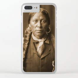 Native American Apache Portrait by Edward Curtis, 1904 Clear iPhone Case