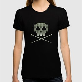 Knitted Skull / Knitting with Attitude (Black on Greenish Grey) T-shirt