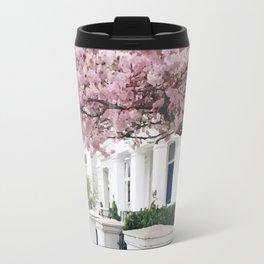 White house and pink flowers Travel Mug