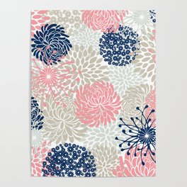Floral Mixed Blooms, Blush Pink, Navy Blue, Gray, Beige Poster