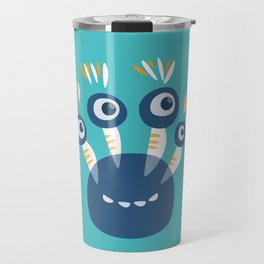 Cute Blue Four Eyed Monster Travel Mug