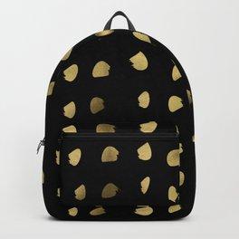 Preppy brushstroke free polka dots black and gold spots dots #society6 #decor #buyart #artprint Backpack