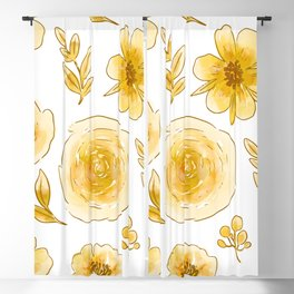 Yellow roses Blackout Curtain