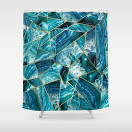 Turquoise Navy Blue Agate Black Gold Geometric Triangles Shower Curtain