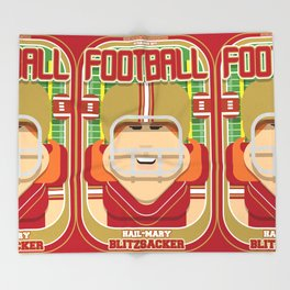 American Football Red and Gold - Hail-Mary Blitzsacker - Jacqui version Throw Blanket