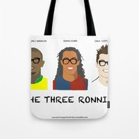 ronaldo Tote Bags featuring The Three Ronnies - Ronaldo, Ronaldinho and 'CR7' Cristiano Ronaldo by elrooneyo