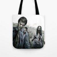 walking dead Tote Bags featuring Zombie by Joe Roberts