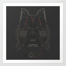 Wolf line illustration Art Print