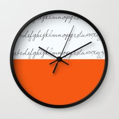 Alphabet-Orange Wall Clock
