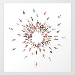 Cute Coloful Fishes Art Print
