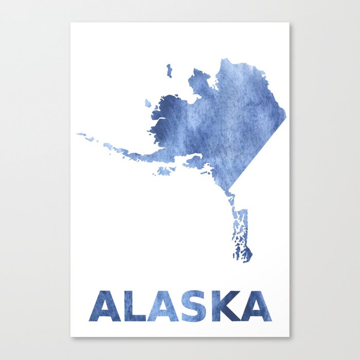 Alaska Map Outline Blue Clouds Watercolor Pattern Canvas Print By