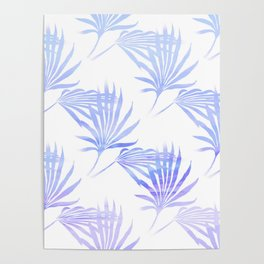Palmetto Leaf Fronds Print Blue Poster