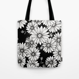 Field of Daisies: Black and White Tote Bag