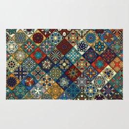 Vintage patchwork with floral mandala elements Rug