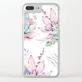 Pretty Pastel Succulents Garden 1 Clear iPhone Case