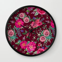 Burgundy Floral Thanksgiving , fall & winter floral in watercolor Wall Clock