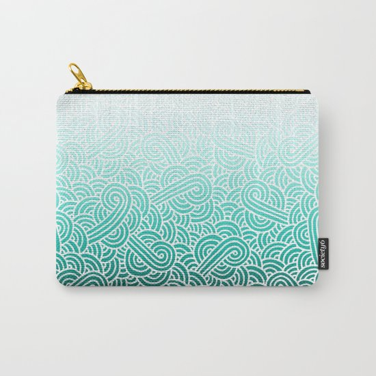 Ombre turquoise blue and white swirls doodles Carry-All Pouch