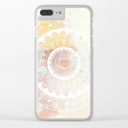 Ukatasana white mandala on pink Clear iPhone Case