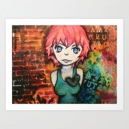 Graffiti girl. mixed media Art Print