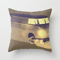 volkswagen Throw Pillows featuring Skull Volkswagen by Bright Enough💡