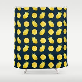 Watercolor Lemon Pattern Shower Curtain