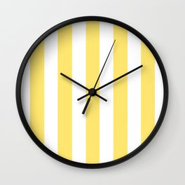 Shandy yellow - solid color - white vertical lines pattern Wall Clock