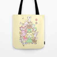 animal crossing Tote Bags featuring Animal Crossing (yellow) by Siri