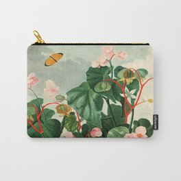 Pink Floral The Oblique-Leaved Begonias : Temple of Flora Carry-All Pouch