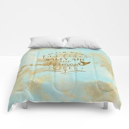 Beach - Mermaid - Mermaid Vibes - Gold glitter lettering on teal glittering background Comforters