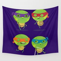 turtles Wall Tapestries featuring Turtles by Maria Jose Da Luz