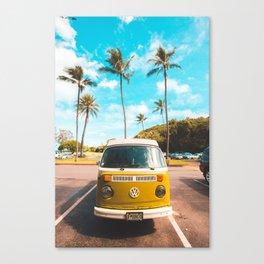 Classic V W Bus at Beach Canvas Print