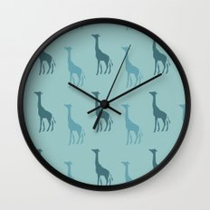 Aqua Giraffes Wall Clock