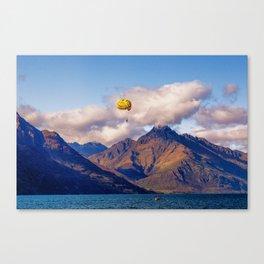 Parasailing on Wakatipu lake, Queenstown, New Zealand Canvas Print