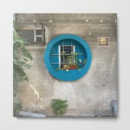 Tel Aviv - blue window on a grey wall Metal Print