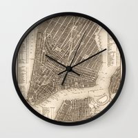 new york map Wall Clocks featuring New York Map by Le petit Archiviste