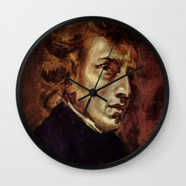 The Portrait of Frédéric Chopin by French artist Eugène Delacroix (1838) Wall Clock