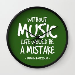Life Without Music Quote - Neitzsche Wall Clock