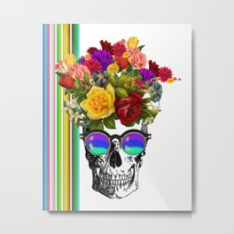 Colorful Cool Hip Skull with flowers Metal Print
