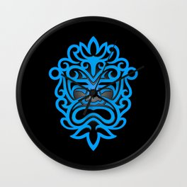 Stylish Blue and Black Mayan Mask Wall Clock
