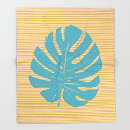 Monstera in Turquoise and Gold Throw Blanket