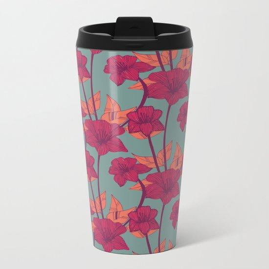 Vintage Blossoms Metal Travel Mug