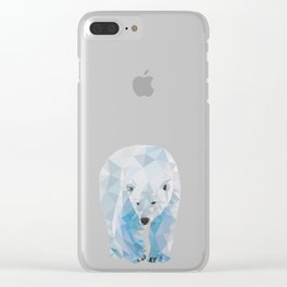 Geometric Polar Bear Clear iPhone Case
