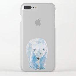 Geometric Polar Bear Clear iPhone Case