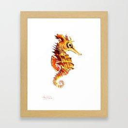 Seahorse, orange yellow cute animals illustration children room nursery sea world art Framed Art Print