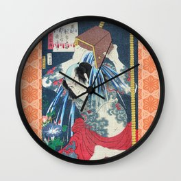 Japanese Kunisada Tattoo Warrior Print Wall Clock
