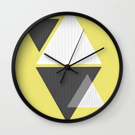 Miminalist Black and White Triangles Abstract Wall Clock