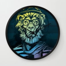 Hipster Lion Black and White Wall Clock