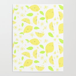 Capri Lemon Slices (white) Poster
