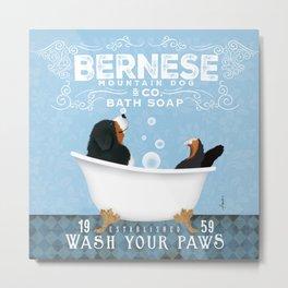Bernese Mountain Dog Berner Bath Soap bubble Bath clawfoot tub Metal Print