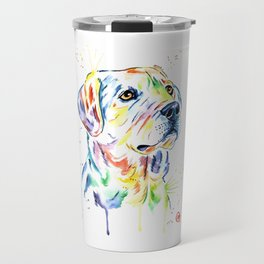 Yellow Lab Colorful Watercolor Painting - Puppy Star Travel Mug